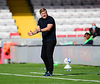 Oxford United manager Karl Robinson shouts instructions to his team from the technical area<br /> <br /> Photographer Andrew Vaughan/CameraSport<br /> <br /> The EFL Sky Bet League One - Saturday 12th September  2020 - Lincoln City v Oxford United - LNER Stadium - Lincoln<br /> <br /> World Copyright © 2020 CameraSport. All rights reserved. 43 Linden Ave. Countesthorpe. Leicester. England. LE8 5PG - Tel: +44 (0) 116 277 4147 - admin@camerasport.com - www.camerasport.com - Lincoln City v Oxford United