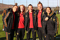 20191008 CLUJ NAPOCA: Belgium' Maud Coutereels, Charlotte Tisson, Elke van Gorp, Justien Odeurs and Lola Wajnblum are pictured before the match between Belgium Women's National Team and Romania Women's National Team as part of EURO 2021 Qualifiers on 8th of October 2019 at CFR Stadium, Cluj Napoca, Romania. PHOTO SPORTPIX | SEVIL OKTEM