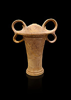 Minoan clay ritual vessel with figure of eight handles, Tomb of the Double Axes, Isopata 1450-1300 BC, Heraklion Archaeological Museum, black background