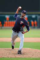 Minnesota Twins pitcher Johan Quezada (57) during an instructional league game against the Baltimore Orioles on September 22, 2015 at Ed Smith Stadium in Sarasota, Florida.  (Mike Janes/Four Seam Images)