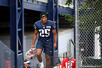 July 26, 2018: New England Patriots defensive back Eric Rowe (25) heads to practice at the New England Patriots training camp held on the practice fields at Gillette Stadium, in Foxborough, Massachusetts. Eric Canha/CSM