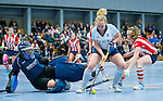SCHIEDAM - NK reserveteams zaalhockey. Finale Tilburg D2-HDM D2 (1-3) . Eline vd Ven van Tilburg.   links HDM keeper Annabel Kalis. COPYRIGHT KOEN SUYK