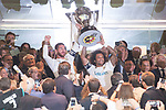 Real Madrid's Sergio Ramos and Marcelo receive La Liga 2016-2017 Cup before La Liga match between Real Madrid and Valencia CF at Santiago Bernabeu Stadium in Madrid, Spain August 27, 2017. (ALTERPHOTOS/Borja B.Hojas)