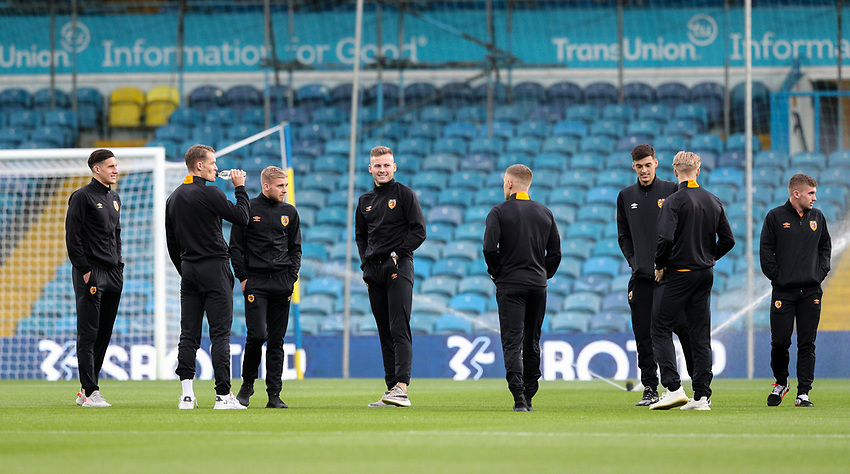 Hull City players inspect the pitch before the match<br /> <br /> Photographer Alex Dodd/CameraSport<br /> <br /> Carabao Cup Second Round Northern Section - Leeds United v Hull City -  Wednesday 16th September 2020 - Elland Road - Leeds<br />  <br /> World Copyright © 2020 CameraSport. All rights reserved. 43 Linden Ave. Countesthorpe. Leicester. England. LE8 5PG - Tel: +44 (0) 116 277 4147 - admin@camerasport.com - www.camerasport.com