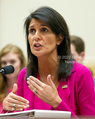 United States Ambassador to the United Nations Nikki Haley gives testimony before the US House Foreign Affairs Committee on &quot;Advancing US Interests at the United Nations&quot; on Capitol Hill in Washington, DC on Wednesday, June 28, 2017.<br /> Credit: Ron Sachs / CNP
