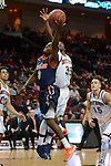 March 8, 2014; Las Vegas, NV, USA; Pepperdine Waves guard Jeremy Major (3) shoots against St. Mary's Gaels guard James Walker III (35) during the second half of the WCC Basketball Championships at Orleans Arena.