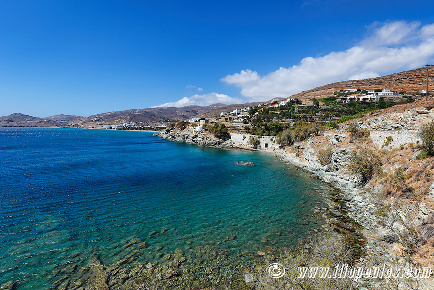 The beach below the church of St. Markos in Tinos island, Greece
