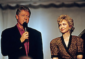 "United States President Bill Clinton makes remarks during the taping of the PBS series ""In Performance at the White House"" on the South Lawn of the White House in Washington, D.C. on June 18, 1993. The show is to honor the 40th anniversary of the Newport Jazz Festival.  First lady Hillary Rodham Clinton looks on from the right.<br /> Credit: Ron Sachs / CNP"