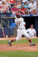 D'Vontrey Richardson #27 of the Florida State Seminoles follows through on his swing versus the Virginia Cavaliers at Durham Bulls Athletic Park May 24, 2009 in Durham, North Carolina. The Virginia Cavaliers defeated the Florida State Seminoles 6-3 to win the 2009 ACC Baseball Championship.  (Photo by Brian Westerholt / Four Seam Images)