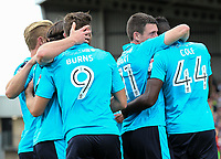 Fleetwood Town's Devante Cole celebrates scoring their first goal with team mates<br /> <br /> Photographer Andrew Kearns/CameraSport<br /> <br /> The EFL Sky Bet League One - Northampton Town v Fleetwood Town - Saturday August 12th 2017 - Sixfields Stadium - Northampton<br /> <br /> World Copyright &copy; 2017 CameraSport. All rights reserved. 43 Linden Ave. Countesthorpe. Leicester. England. LE8 5PG - Tel: +44 (0) 116 277 4147 - admin@camerasport.com - www.camerasport.com
