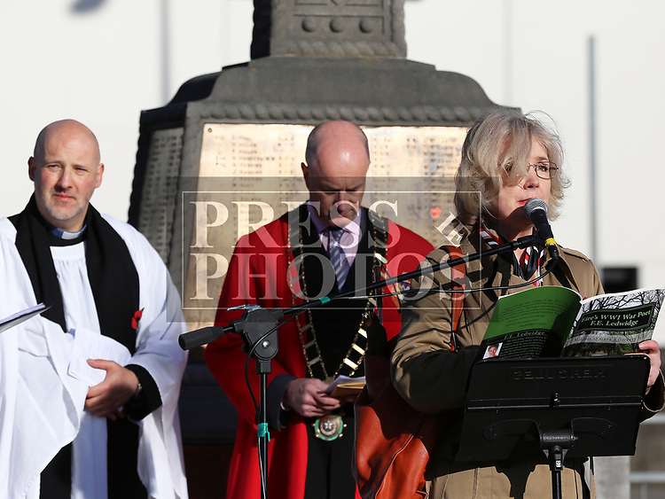Miriam Kilmurry at the annual Drogheda Remembrance Day ceremony at Mary Street.<br /> <br /> <br /> photo - Jenny Matthews
