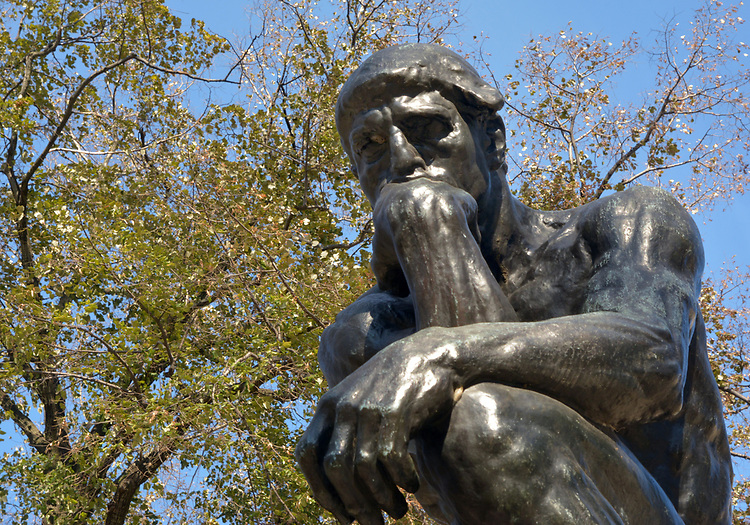 """Bronze Sculpture titled, """"The Thinker"""" by Auguste Rodin, in front of the Rodin Museum, on Benjamin Franklin Parkway, in Philadelphia, PA, on Monday, November 27, 2017. Photo by Jim Peppler. Copyright/Jim Peppler-2017."""