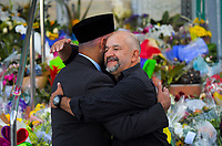 International Muslim Association of New Zealand president Tahir Nawaz with Jorge Meza Cardenas (right). Wellington Islamic Centre in Wellington, New Zealand on Tuesday, 19 March 2019. Photo: Dave Lintott / lintottphoto.co.nz