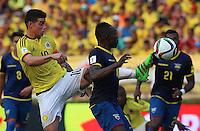 BARRANQUILLA - COLOMBIA -29-03-2016: James Rodriguez (Izq) jugador de Colombia disputa el balón con Walter Ayovi (CAP) (Der) jugador de Ecuador durante partido de la fecha 6 para la clasificación sudamericana a la Copa Mundial de la FIFA Rusia 2018 jugado en el estadio Metropolitano Roberto Melendez en Barranquilla./  James Rodriguez (L) player of Colombia fights the ball with Walter Ayovi (CAP) (R) player of Ecuador during match of the date 6 for the qualifier to FIFA World Cup Russia 2018 played at Metropolitan stadium Roberto Melendez in Barranquilla. Photo: VizzorImage / Ivan Valencia / Cont