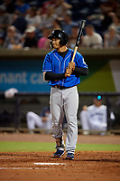 Biloxi Shuckers Trent Grisham (6) at bat during a Southern League game against the Pensacola Blue Wahoos on May 3, 2019 at Admiral Fetterman Field in Pensacola, Florida.  Pensacola defeated Biloxi 10-8.  (Mike Janes/Four Seam Images)