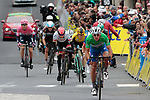 Green Jersey wearer Philippe Gilbert (BEL) Deceuninck-Quick Step leads the next group home, including Dan Martin (IRL) UAE Team Emirates, Richie Porte (AUS) Trek-Segafredo and Steven Kruiswijk (NED) Team Jumbo-Visma and others to the finish line of Stage 2 of the Criterium du Dauphine 2019, running 180km from Mauriac to Craponne-sur-Arzon, France. 9th June 2019<br /> Picture: Colin Flockton | Cyclefile<br /> All photos usage must carry mandatory copyright credit (© Cyclefile | Colin Flockton)