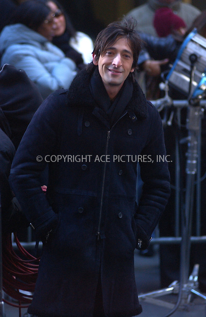 WWW.ACEPIXS.COM . . . . .....November 23 2005, New York City....Actor Adrian Brody made an appearance on 'The Today Show' at the Rockefeller Center in Manhattan.......  ....Please byline: Kristin Callahan - ACE PICTURES..... *** ***..Ace Pictures, Inc:  ..Philip Vaughan (212) 243-8787 or (646) 769 0430..e-mail: info@acepixs.com..web: http://www.acepixs.com