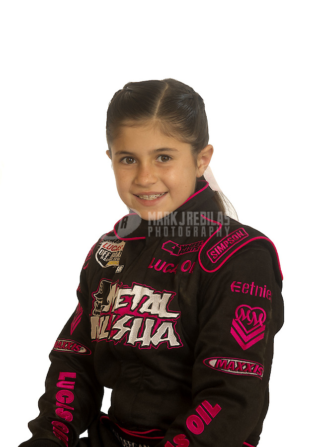 Mar. 18, 2011; Chandler, AZ, USA;  LOORRS driver Hailie Deegan poses for a portrait at Firebird International Raceway. Mandatory Credit: Mark J. Rebilas