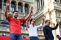 Milano 04/09/2019 Piazza Duomo 90 years of Scuderia Ferrari . 90 Anni di Emozioni <br /> Photo Daniele Buffa/Image Sport / Insidefoto <br /> Giancarlo Fisichella-Felipe Massa-Kimi Raikkonen