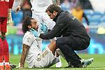 Real Madrid's Marcelo Vieira injured during La Liga match. September 14,2019. (ALTERPHOTOS/Acero)