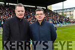 Tim Murphy and Jim Garvey before the Kerry County Senior Club Football Championship Final match between East Kerry and Dr. Crokes at Austin Stack Park in Tralee, Kerry.