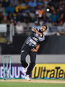 8th February 2019, Eden Park, Auckland, New Zealand;  Ish Sodhi bowling. New Zealand v India in the Twenty20 International cricket, 2nd T20.