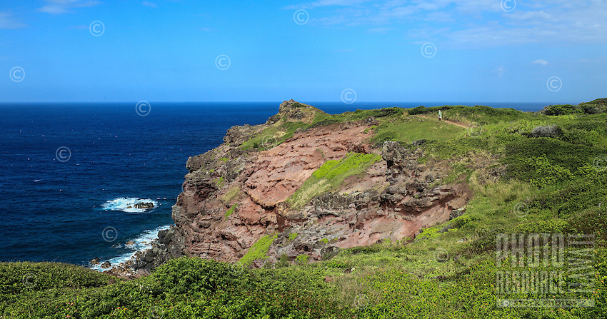 A distant hiker on the Ohai Trail on Maui.