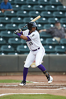 Johan Cruz (13) of the Winston-Salem Dash at bat against the Lynchburg Hillcats at BB&T Ballpark on August 1, 2019 in Winston-Salem, North Carolina. The Dash defeated the Hillcats 9-7. (Brian Westerholt/Four Seam Images)