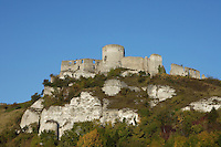 LES ANDELEYS, FRANCE - OCTOBER 10: Low angle view of the cliff top outer wall of the keep and existing walls of the Chateau Gaillard, on October 10, 2008 in Les Andelys, Normandy, France. The chateau was built by Richard the Lionheart in 1196, came under French control in 1204 following a siege in 1203. It was later destroyed by Henry IV in 1603 and classified as Monuments Historiques in 1852. (Photo by Manuel Cohen)