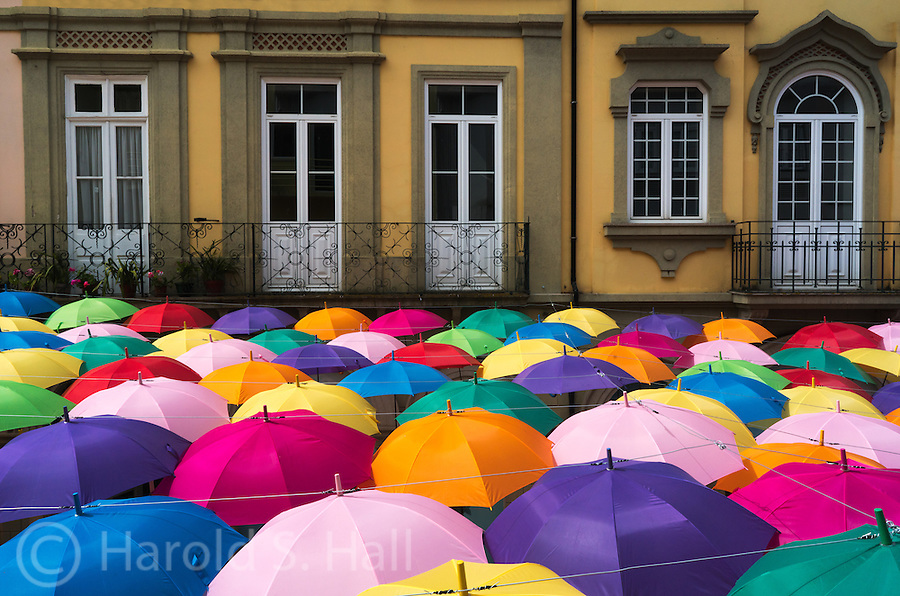 The small town in central Portugal, Agueda has an annual umbrella festival attracting many thousands to their music venues and umbrella shaded streets. The umbrellas provide much needed shade as well as bright color to the town for the entire month of July each year.