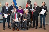 Der Wehrbeauftragte des Deutschen Bundestages, Hans-Peter Bartels (vorne links), uebergibt am Dienstag den 20. Februar 2018 seinen Jahresbericht 2017 an Bundestagspraesident Wolfgang Schaeuble (vorne rechts).<br /> Im Bild stehend vlnr.: <br /> Ruediger Lucassen (AfD);<br /> Thomas Hitschler (SPD);<br /> Anita Schaefer (CDU);<br /> Tobias Lindner (Buendnis 90/Die Gruenen);<br /> Wolfgang Helmich (SPD);<br /> Christine Buchholz (Linkspartei).<br /> 20.2.2018, Berlin<br /> Copyright: Christian-Ditsch.de<br /> [Inhaltsveraendernde Manipulation des Fotos nur nach ausdruecklicher Genehmigung des Fotografen. Vereinbarungen ueber Abtretung von Persoenlichkeitsrechten/Model Release der abgebildeten Person/Personen liegen nicht vor. NO MODEL RELEASE! Nur fuer Redaktionelle Zwecke. Don't publish without copyright Christian-Ditsch.de, Veroeffentlichung nur mit Fotografennennung, sowie gegen Honorar, MwSt. und Beleg. Konto: I N G - D i B a, IBAN DE58500105175400192269, BIC INGDDEFFXXX, Kontakt: post@christian-ditsch.de<br /> Bei der Bearbeitung der Dateiinformationen darf die Urheberkennzeichnung in den EXIF- und  IPTC-Daten nicht entfernt werden, diese sind in digitalen Medien nach &sect;95c UrhG rechtlich geschuetzt. Der Urhebervermerk wird gemaess &sect;13 UrhG verlangt.]