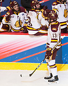 Willie Raskob (UMD - 15), Kyle Osterberg (UMD - 8), Joey Anderson (UMD - 13) - The University of Minnesota Duluth Bulldogs defeated the Harvard University Crimson 2-1 in their Frozen Four semi-final on April 6, 2017, at the United Center in Chicago, Illinois.