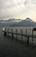 Jetty jutting  on to the lake. Stätter See. Beckenried. Luzern area, Switzerland.