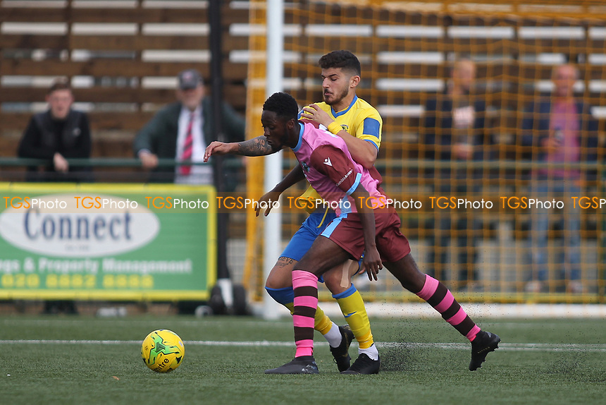 Konstantinos Alexandrou of Haringey and Leon Lalor-Dell of Corinthian during Haringey Borough vs Corinthian Casuals, BetVictor League Premier Division Football at Coles Park Stadium on 10th August 2019