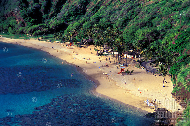The beach at Hanauma Bay on the Island of Ohau