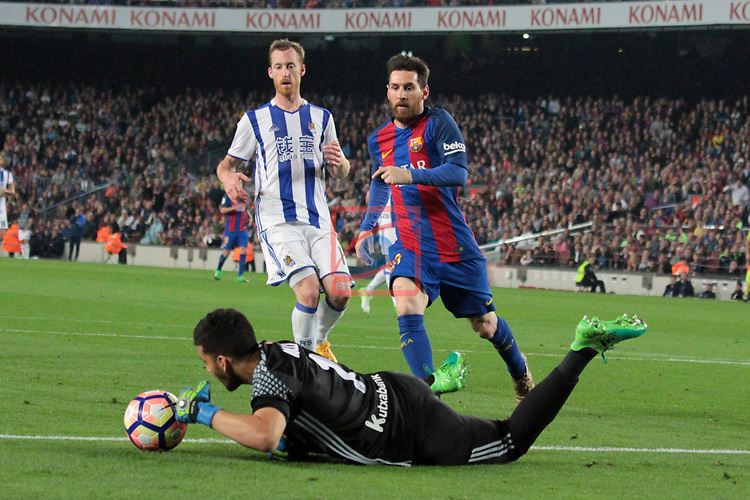 League Santander 2016/2017. Game: 32.<br /> FC Barcelona vs Real Sociedad: 3-2.<br /> Lionel Messi vs Rulli.