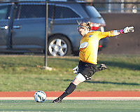 Boston Breakers goalkeeper Ashley Phillips (24). In a National Women's Soccer League Elite (NWSL) match, the Boston Breakers (blue) tied the Washington Spirit (white), 1-1, at Dilboy Stadium on April 14, 2012.
