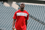 28 May 2010: Maurice Edu. The United States Men's National Team held a practice session at Lincoln Financial Field in Philadelphia, Pennsylvania the day before playing Turkey in their final home friendly prior to the 2010 FIFA World Cup in South Africa.