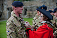 Wednesday 26 March 2014<br /> Pictured: Mayor of St Davids Glenys James presents a medal<br /> Re: 236 Signal Squadron ( part of 14 Signal regiment who are based at Cawdor Barracks in Brawdy Parade through the streets of  St.Davids Pembrokeshire led by Haverfordwest Air Training Corps Band and are then Presented with medals