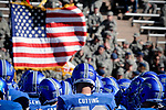 November 4, 2017:  Air Force Academy players and flag prior to the NCAA Football game between the Army West Point Black Knights and the Air Force Academy Falcons at Falcon Stadium, United States Air Force Academy, Colorado Springs, Colorado.  Army West Point defeats Air Force 21-0.