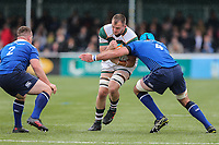 Harry Casson of Ealing Trailfinders is tackled by Mick Kearney of Leinster Rugby A during the British & Irish Cup Final match between Ealing Trailfinders and Leinster Rugby at Castle Bar, West Ealing, England  on 12 May 2018. Photo by David Horn / PRiME Media Images.