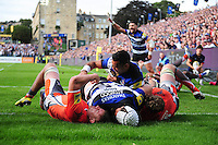 Dave Attwood of Bath Rugby crosses the try-line in the second half. Aviva Premiership match, between Bath Rugby and Newcastle Falcons on September 10, 2016 at the Recreation Ground in Bath, England. Photo by: Patrick Khachfe / Onside Images
