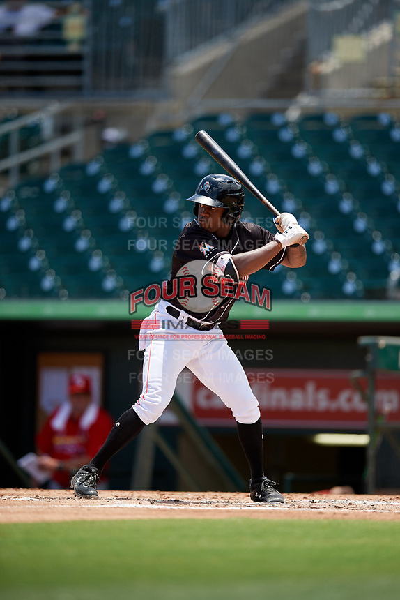 Jupiter Hammerheads right fielder Anfernee Seymour (26) at bat during a game against the Palm Beach Cardinals on August 5, 2018 at Roger Dean Chevrolet Stadium in Jupiter, Florida.  Jupiter defeated Palm Beach 3-0.  (Mike Janes/Four Seam Images)
