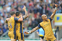 Tom Varndell of Bristol Rugby celebrates Jack Lam of Bristol Rugby's try during the Aviva Premiership Rugby match between Harlequins and Bristol Rugby at Twickenham Stadium on Saturday 03 September 2016 (Photo by Rob Munro/Stewart Communications)