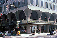 San Francisco:  Industrial Indemnity Building (originally John Hancock, S-O-M 1959.) Street level arcade, sculpted concrete piers. Photo '83.