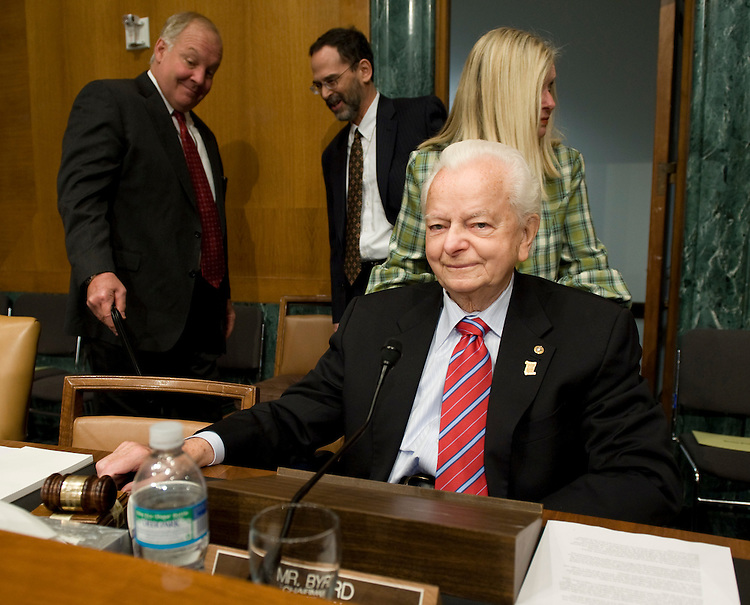 Sen. Robert Byrd, D-W.Va., chairs the Senate Appropriations Committee hearing on the President's FY 2008 War Supplemental Request on Wednesday, April 16, 2008. Jim Nussle, director of the Office of Management and Budget, was the witness for the hearing.