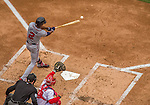 4 April 2014: Atlanta Braves center fielder B.J. Upton connects during the Washington Nationals Home Opening Game at Nationals Park in Washington, DC. The Braves edged out the Nationals 2-1 in their first meeting of the 2014 MLB season. Mandatory Credit: Ed Wolfstein Photo *** RAW (NEF) Image File Available ***