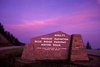 Blue Ridge Parkway, NC, North Carolina, Highest elevation sign on the Blue Ridge Parkway, 6053 feet, in North Carolina.