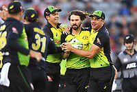 Australian bowler Kane Richardson (c) celebrates the wicket of Munro. New Zealand Black Caps v Australia.Tri-Series International Twenty20 cricket final. Eden Park, Auckland, New Zealand. Wednesday 21 February 2018. © Copyright Photo: Andrew Cornaga / www.Photosport.nz