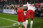 30.11.2019, RheinEnergieStadion, Koeln, GER, 1. FBL, 1.FC Koeln vs. FC Augsburg,<br />  <br /> DFL regulations prohibit any use of photographs as image sequences and/or quasi-video<br /> <br /> im Bild / picture shows: <br /> Torjubel / Jubel / Jubellauf,    Jhon Córdoba (FC Koeln #15),    Ismail Jakobs (FC Koeln #38), <br /> <br /> Foto © nordphoto / Meuter